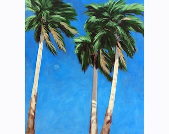 Daytime Moon in Palm Springs - Desert Palm Trees print from original painting