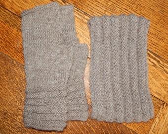 Hand Knitted Alpaca/Bamboo Blend Headband and Fingerless Gloves Set OOAK