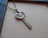 75% Off Sale-Steampunk Vintage Key Necklace, Wings- Aurora Borealis