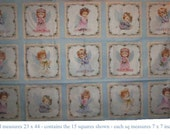 fabric panel w sweetest lil Angels and Flowers - 15 squares measuring 7x7 inch - soft shades w a tiny hint of silver for bling