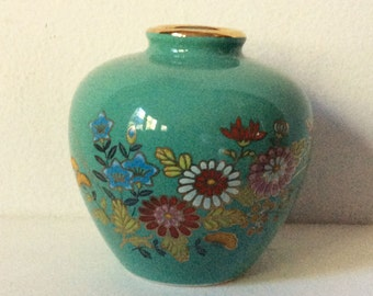 Vintage small Japan vase in aqua with multi-color flowers and gold highlights