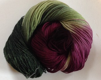 Hand dyed 4ply sock yarn Vine 390 yds approx