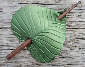 Leather Hair Accessory - Olivine Green Birch Leaf Barrette Hair Stick, Hair Slide Or Shawl Pin