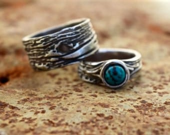 Tree Bark Wedding rings Unique wedding set His and Hers Rustic