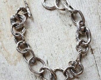 Handmade Silver bracelet artisan Urban Rustic Unique Fine Silver Artisan Jewelry High End Designer luxe limited edition Primitive