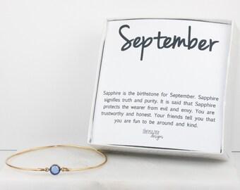 September Birthstone Swarovski Sapphire Gold Bangle Bracelet, Gold Bracelet, Sapphire Bangle Bracelet, September Birthstone Bracelet #773