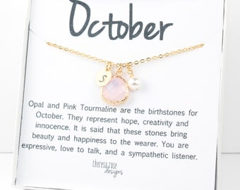 October Birthstone Gold Necklace, Pink Opal Necklace, October Birthday Jewelry, Personalized Gold Necklace #877