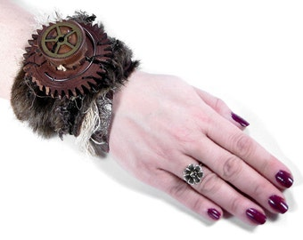 Steampunk Cuff Wrist Cuff Brown Faux Fur Leather Cuff Wood Clock Gears Brass Gears Glam ROCKER Punk Cuff - Steampunk Clothing by edmdesigns