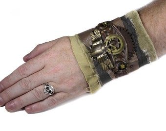 Steampunk Textile Cuff Tooled Leather ESCUTCHEON SCaRAB, Brass WOOD Gears, Apocalyptic Mens Rocker PuNk - Steampunk Clothing by edmdesigns