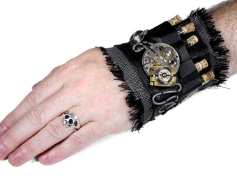 Steampunk Textile Cuff GEARS Mens Black Leather Apothecary Cuff Vials Metal Coils BURNING MAN Cuff - Steampunk Clothing by edmdesigns