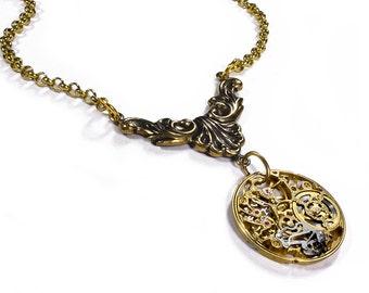Steampunk Jewelry Womens Necklace GOLD SKELETON Watch Victorian Brass Flourish RARE - Wedding Anniversary - Steampunk Jewelry by edmdesigns