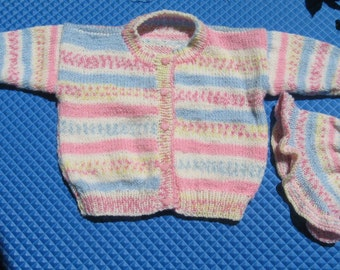 Handknit Baby Sweater and Hat in Striped/Fair Isle Design