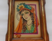 Vintage Framed Gypsy Picture Portrait