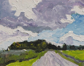 Art ACEO Landscape Oil Painting Original Blue Sky Cloud Appalachian Impressionist Trading Card 2.5 x 3.5 Quebec Canada By Founier no 2015-15