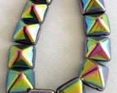 Vitrail Pyramid 12mm - 2 hole Czech Beads - 1 strand, 12 beads