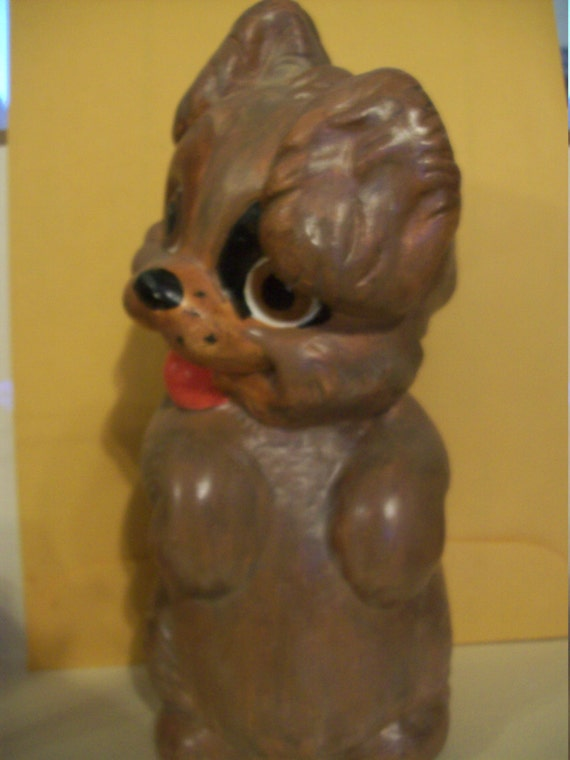 Happy Brown Dog   Collectible Ceramic    Gift     handpainted    Indoor or outdoor fun decoration