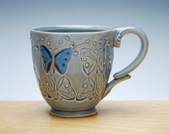 Blue Butterfly mug in Ocean gloss w. colorized detail, Victorian modern cup