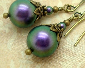Victorian Earrings with Iridescent Purple Swarovski Pearls and Brass