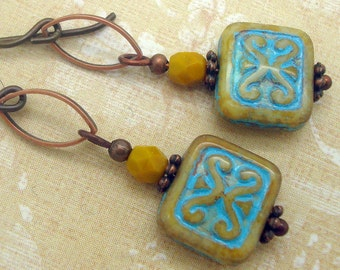 Copper Bohemian Style Earrings with Mustard Yellow and Blue Glass Beads