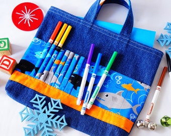 Crayon Tote • Crayon Bag • Coloring Bag • Art Tote • Crayon Holder • Crayon Roll • Ring Bearer • Busy Bag • ARTOTE • in Shark Attack