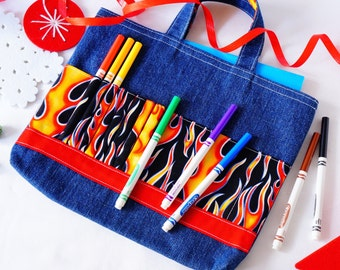 Crayon Tote • Crayon Bag • Coloring Bag • Art Tote • Crayon Holder • Crayon Roll • Ring Bearer • Busy Bag • Activity • ARTOTE in HotShot