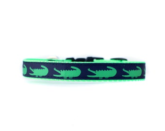 5/8 or 3/4 Inch Wide Dog Collar with Adjustable Buckle or Martingale in Alligators