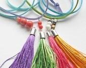 Tassel necklace, boho jewelry, hipster jewelry, long necklace, casual necklace, colorful necklace