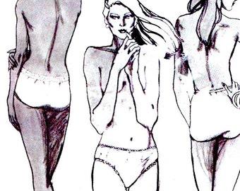 Womens briefs underwear bikini panties Vintage 80s Sewing pattern Ladies Lingerie Stretch & Sew 2046 UNCUT Multi size Ann Person
