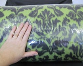 SALE - Damask Fleece Fabric per 1 yard - Kiwi and Black Print - use for ponchos, scarves, mittens or blankets