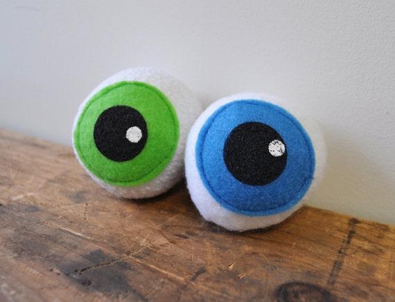 Catnip filled Eyeballs Cat Toy ball plush eye recycled materials