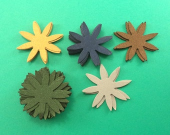 Pointy Paper Flowers, Scrapbook Embellishments, Card Making Supply, Unfinished Flowers, Hand Punched Flowers, Gold, Navy Blue, Brown
