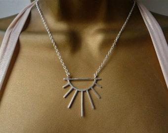 Silver Sun Necklace. Art Deco Necklace. Zodiac Jewelry. Tarot. Modernist Necklace. Statement Necklace. Symbolic Jewelry. Jewellery Handmade