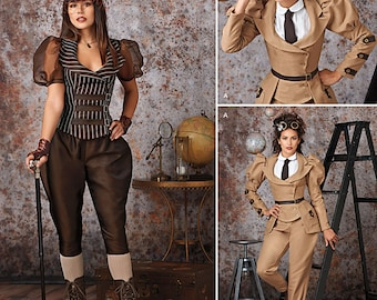 Sewing Pattern-Simplicity 8114-Steampunk Jacket, Blouse, Pants Plus size