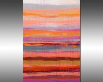 Lithosphere 142 - Art Abstract Painting Large Colorful Wall Art Textured Painting Orange White Pink, Canvas Art Industrial Rustic Modern Art