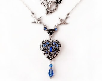Blue Heart Locket Necklace Swarovski Crystal Personalized Necklace silver heart shaped locket necklace monogram custom name initial