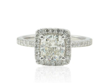 Diamond Engagement Ring - GIA Certified Square Cushion Diamond Ring with Single Halo and Hidden Petals - LS4552