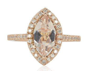 Morganite Engagement Ring - Marquise cut Peach Morganite and Diamond Halo Ring in 14k Rose Gold - Helena Collection - LS4560