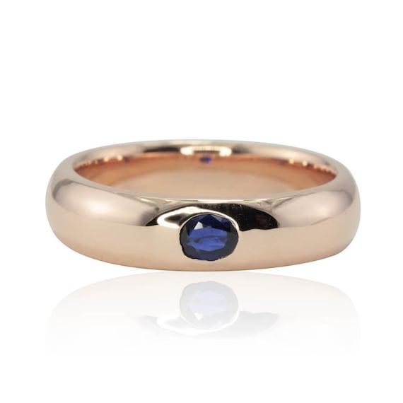 Rose Gold Men's Wedding Band - Bezel set Blue Sapphire Comfort fit Men's Band in 14k Rose Gold - September Birthstone Ring - LS1797