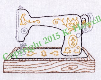 Hand Embroidery Pattern-Sewing Machine-Antique