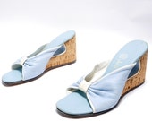 Vintage 60s Light Blue Leather Mules// Summer Sky Blue Wedges// Bowed Blue and White Sandals// 7N size