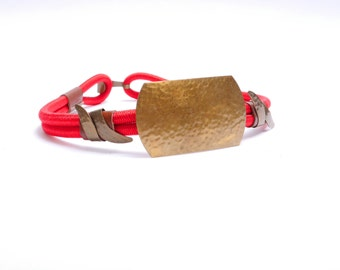70s 80s Glam Abstract Metal Red Elastic Belt S/M