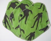 Set of 3 Cloth Mama Pad Pantyliners 8 inch - Zombie Printed Cotton FREE Shipping