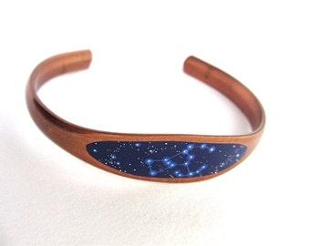 Orion Constellation Bracelet, Mini Enamel Painting, Copper Jewelry