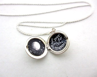Love You to the Moon, Tiny Painting in Sterling Silver Locket, Mini Outer Space