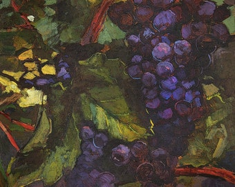 In Vino Veritas - Matted Giclee Fine Art PRINT Wine Grapes 11x14 by Jan Schmuckal