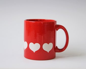 Vintage red and white heart mug -  Waechtersbach coffee cup