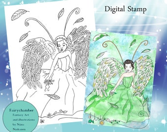 Angel of hope - Digital Stamp - Instant download - Coloring page - Lineart for cards and crafts - by Niina Niskanen
