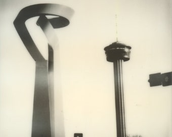 San Antonio, Polaroid Photographic Print, Tower of the Americas, OOAK Ready to Frame, one of a kind polaroid