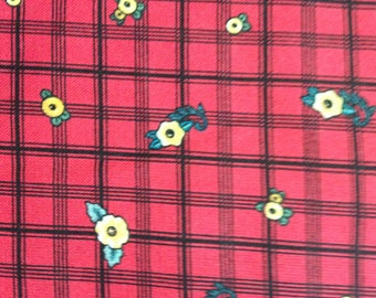 Mary Engelbreit Fabric Little Flowers Red Plaid Fabric 1 Yard