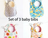 Set of 3 Your Choice of Fabric Adjustable, Reversible Bib with Minky for Baby Boys Baby Girls